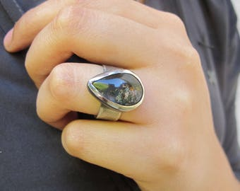 Trapped Earth- Lodolite and sterling silver ring - One of a kind - Size  - Smooth Wide Textured band - Gifts for her - Piece of nature