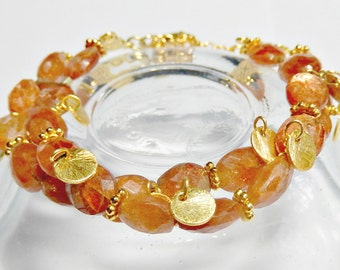 Genuine Sunstone and Gold Vermeil Double Bracelet Free Priority Shipping