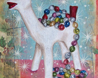 Christmas  Deer Painting over Vintage Gift Wrap Collage
