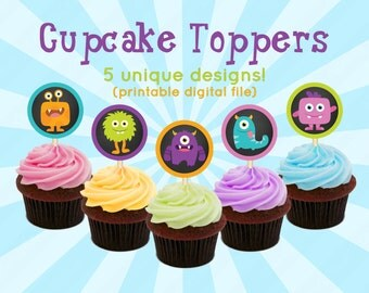 Little Monster Birthday Party Decoration for Kids - Children's Printable Cute Cupcake Toppers, Favor Tags, Medallions, Confetti - DIY 0008