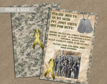 Military Army Deployment Party Invitation, Duty Calls Invite, Basic Training, or Soldier Send-off Leave - National Guard - Picture or Photo