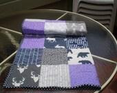 Handmade Baby quilt, baby girl quilt bedding,deer crib bedding, woodland baby quilt, grey, purple, teal nursery,bear, moose, Woodland Lass