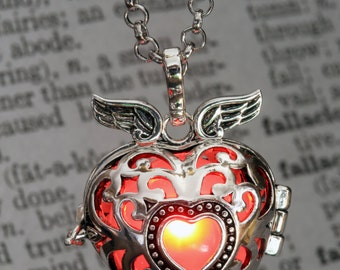Red Pendant Winged Heart Locket