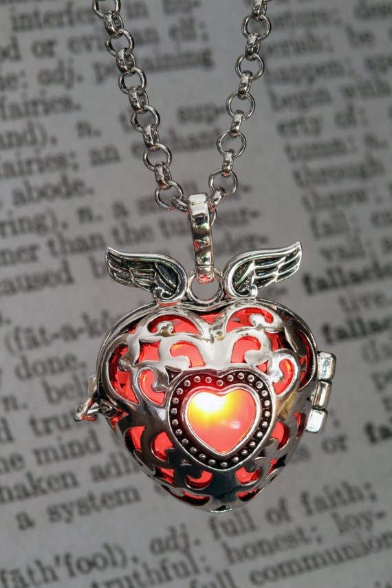 Pendant - Winged Heart Locket with Red glowing Orb