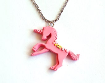 Pastel Unicorn Necklace, Pink Rainbow Unicorn Pendant, Kawaii Jewelry, Pastel Goth Jewelry