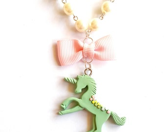 Pastel Unicorn Necklace, Pearls and Pink Rainbow Unicorn Pendant, Mint Green, Purple Unicorn, Kawaii Jewelry, Pastel Goth Jewelry, pinup