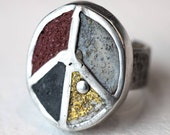 Peace Sign Ring Concrete Sterling Silver Peace Jewelry Gold Band One Of A Kind