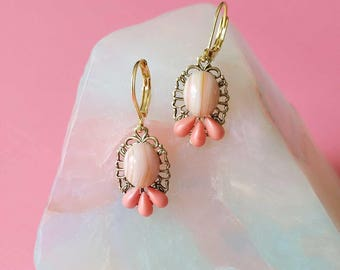 Coral Clusters Earrings - Coral and Pink Drops  - Coral Clusters Earrings (SD1261)