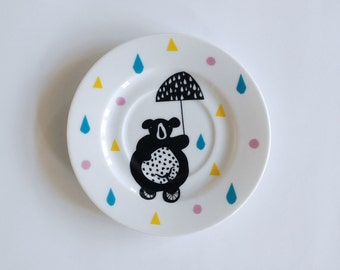 Illustrated small cake plate Circus bear on a bike
