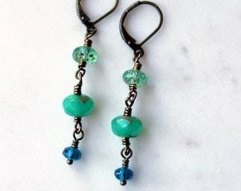 Long Dangle Earrings / Boho Chic Earrings / Sea Colors / Turquoise Aqua Green and Blue Drop Earrings / Czech Glass Beads / Casual Earrings