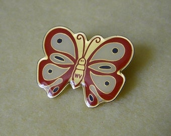 Vintage West Virginia WV Butterfly Pin, state souvenir butterfly pin, enamel butterfly