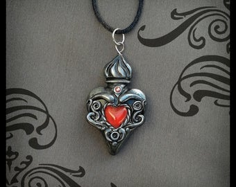 Heart Pendant Gothic Ex Voto Polymer Clay Victorian Jewelry Catholic Gunmetal Silver Gift for Her Birthday Gift Inspirational Gift Religious