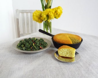 Miniature CORNBREAD in Skillet & Collard GREENS - 1:6 Scale Polymer Clay Realistic Faux Food for Fashion Dolls and Action Figures