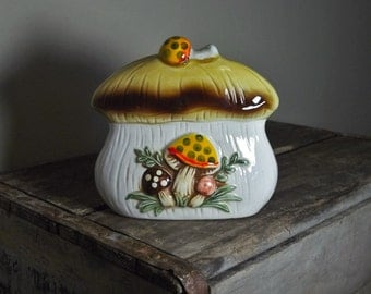 Vintage Ceramic Napkin/ Letter Holder Woodland Mushrooms Japan