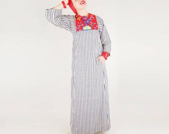 60s 70s Telas Tlaquepaque Striped and Embroidered Mexican Long Dress S M