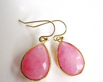 Pink Earrings, Large Teardrop, Gold Earrings, Modern, Minimalist, Bold Statement Earrings, Gardendiva