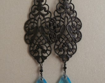 Antique Ornate Filigree with Turquoise Vintage Czech Briolette Crystal Drop Earrings ~ Scrollwork Filigree Earrings ~ Antiqued Finish