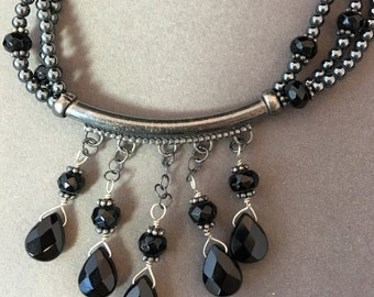 Hemalyke and Onyx multi-strand Necklace