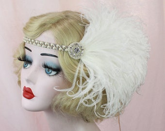 Great Gatsby Crystal Headband, Pearl Hair Accessory, Feather Fascinator, Flapper Headpiece, Feather Headband, Bridal Headpiece