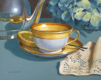 Tea Cup With Napkin 8x10 original oil painting realistic still life by Nance Danforth