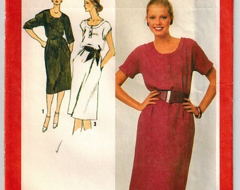 Vintage 80's Misses' Pullover Casual Dress Sewing Pattern Size 6/8 Easy Fitting Dress U-Neckline Band, Patch Pocket, Kimono or Cap Sleeves