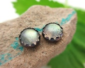 Black Silver Labradorite Cabochon Earrings, 6mm