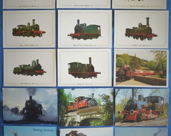 Lot of 15 Postcards Locomotive Railroad Train Engines Chromes Continental Size No Dupes