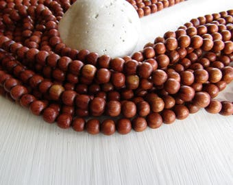 Bayong round  wood beads , brown red tone , Natural exotic  supplies , Philippines  , 8mm ( Full strand   pcs ) 6PH10