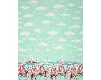 Flamingo Border Seafoam Michael Miller Fabric 1 yard