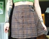 Vintage 90's Plaid High Waisted Brown Skirt // GRUNGE High Waist Mini Wrap Skirt -  29 inch Waist