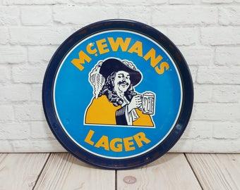 Vintage McEwans Lager Round Tin Pub Tray