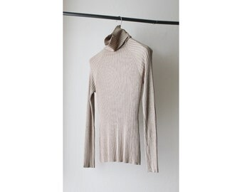 1990's Sheer Tan Ribbed Turtleneck Sweater