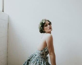 Blue floral party dress, low cut summer dress, floral print dress, spring dress, bohemian dress, boho bridesmaid, flower print, mini dress