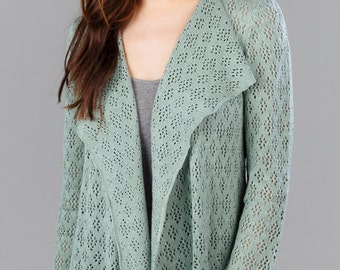 Bamboo Lace Cardigan - Rosemary