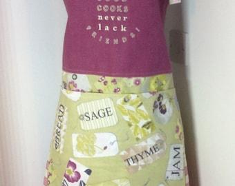 Chefs apron,Cooks apron,Baking apron,Ladies apron-Good Cooks never lack friends  apron OOAK-womans apron