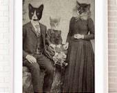 Family, Cat Art, Cat Art Print, Cat Print, Cat Lover Gift, Cat Wall Art, Cat, Cat Poster, Cat Artwork, Cat Decor, Cat Gift Ideas, Wall Art