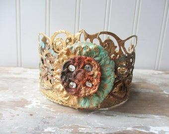 Ornate Santos crown faux rust verdigris crystal antique vintage style decor crown handmade tiara doll size mixed media rhinestone crown