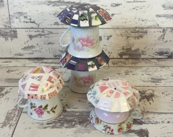 Mosaic Mushrooms - Garden Decor - Fairy House - Broken China Mosaic Purple