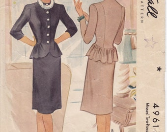 Vintage Pattern McCall 4961 Misses Two-Piece Dress with Peplum 40s Size 14 B32