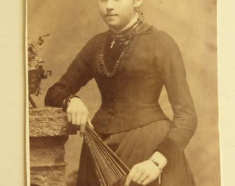 Antique Cabinet Card Lady Wearing a Cross and  Holding a Fan  CC2019