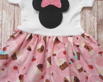 MINNIE MOUSE, disney dress, birthday minnie party dress, pink cupcake, girls minnie mouse dress, first birthday party, minnie party dress