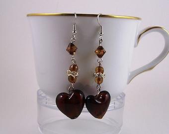70s Vintage Brown Heart Earrings, 70's Heart Earrings, Vintage Mocha Heart Earrings, 70's Brown Earrings, Vintage Brown Heart Drop Earrings