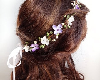 purple flower crown, purple flower headband, flower girl crown, lilac flowers, lilac wedding, purple wedding headpiece, natural floral crown