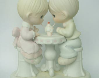 """Precious Moments """"Our Friendship is Soda-Licious"""" Porcelain Figurine - Enesco - Vintage Collectible - 1992 - Retired - Soda Shop Friends"""