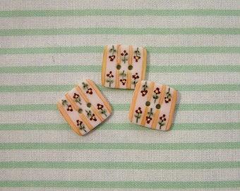 Orange Stripe Button set of 3