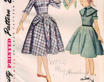 1950s Simplicity 3665 Vintage Sewing Pattern Girl's Party Dress, One Piece Dress, Fitted Dress Size 10