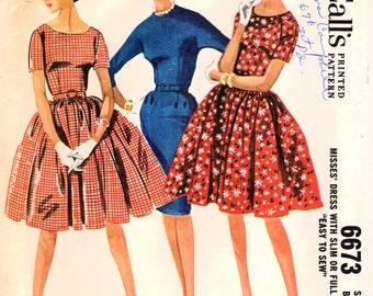 1960s McCall's 6673 Vintage Sewing Pattern Misses Full Skirt Dress, One Piece Dress, Slim Dress, Sheath Size 12 Bust 32