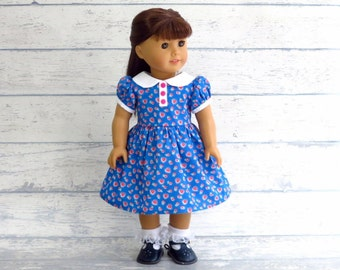 18 inch Doll Dress, 1950s Era Dress with Collar, Blue Doll Dress with Pink Hearts