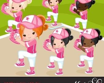 Softball Clipart ADD ON. Softball graphics, baseball players, baseball game illustrations, kids playing softball, home run, african american