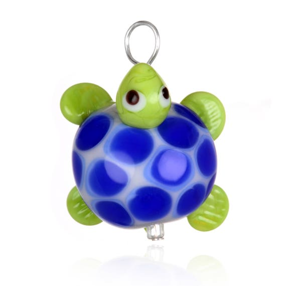 Glass Turtle Pendant Necklace on Leather